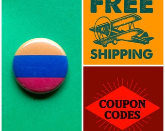 Armenia Flag Button Pin or Magnet, FREE SHIPPING & Coupon Codes