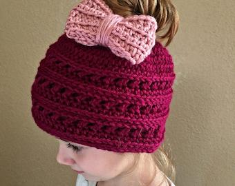 Crochet Messy Bun Hat PATTERN - PDF pattern - Crochet Beanie Pattern - Hat Pattern - Easy Crochet Pattern - Messy Bun Beanie