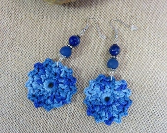 Earrings, textile jewelry, earrings crochet jewelry Blue Flower Earrings lapis lazuli jewelry woman, gift for her