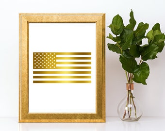 Gold foil print,American Flag wall art,gold foil, foil print,gold foil wall art,gold foil art,foil art,American Flag print,pineapple art