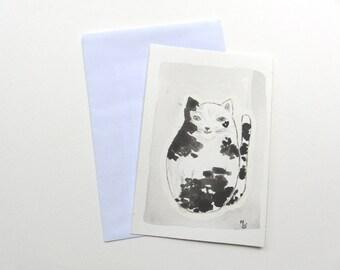 Original watercolor, big cat, black and white, black, white