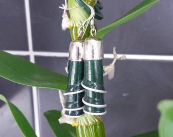 "Earrings capsule coffee ""?"" recycled green spirals"