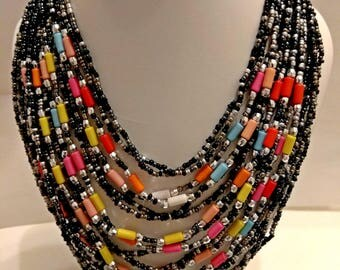 Multicolored necklace, ethnic necklace, multi-strand necklace