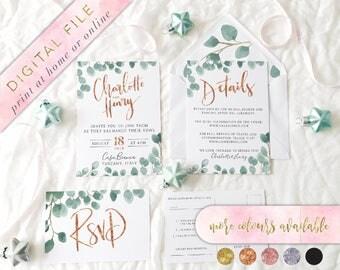 Printable Wedding Invitation Set, Eucalyptus Wedding Invitation, Watercolour Foliage Invitations, Printable Invitation Set,Invitation Bundle