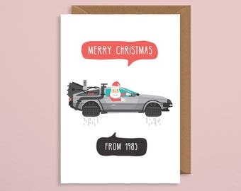 Christmas card funny.Back to the future card.bttf.marty mcfly.Retro Christmas card.Eighties christmas card.pun card.geek christmas.boyfriend