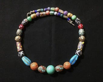 Colorful African Trade Bead Necklace.