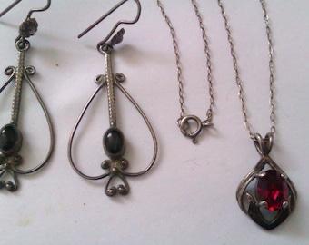 nouveau silver earrings + nouveau necklace