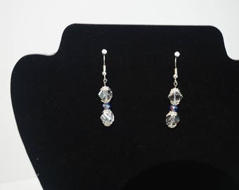 Clear and Blue Glass Drop Earrings