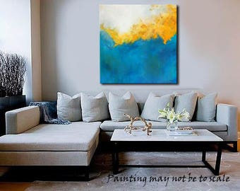 "Contemporary Abstract Original Painting,""Gold Coast"" : Turquoise, Yellow, Gold, White, Acrylic"
