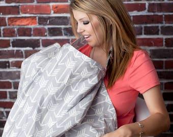 Nursing Cover | Breastfeeding Cover w/ Sewn In Burp Cloth | Breast Feeding Cover Up | Nursing Privacy Cover | Nursing Shawl | Nursing Apron