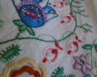hand embroidered linen table cloth with fringed edges
