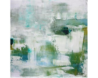 Watery blues greens whites turquoise contemporary Original Abstract Oil Painting 12 x 12 square art Dallas artist Paul Ashby MCM