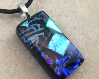 OnSale Blue Mosaic Necklace, Glass Jewelry, Fused Glass Jewelry, Dichroic Pendant, Dichroic Glass Jewelry, Blue Dichroic - HEA266