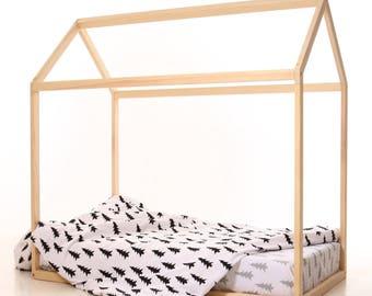 190x100 cm WITH SLATS kids house bed frame, toddler bed, bed home, nursery wood house, frame bed, original bed, home bed, waldorf floor bed