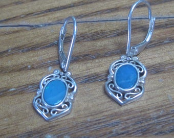 Beautiful Sterling Silver Earrings with light blue stone