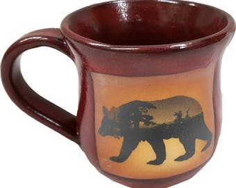 14 Oz. Mug in Mountain Scene Bear Design and Real Red Glaze