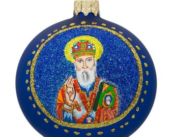 "3.25"" St Nicholas with the Bible Ukrainian Glass Ball Christmas Ornament"