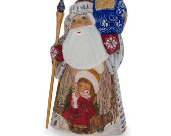 "6.25"" Hand Carved Wooden Russian Santa Claus Figurine"