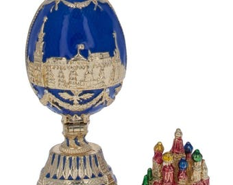 "2.75"" St. Petersburg Blue Enamel Faberge Inspired Russian Easter Egg"