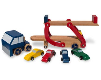 Set of Wooden Truck with Trailer and 4 Cars