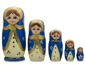 """6.5"""" Set of 5 Blue Scarf and White Dress Girls Russian Nesting Dolls"""
