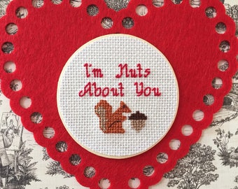 I'm Nuts About You Mason Jar, Mason Jar Decor, Mason Jar Lid, Valentine's Mason Jar, Anniversary Gift, Cross Stitch Art, Squirrel Decor