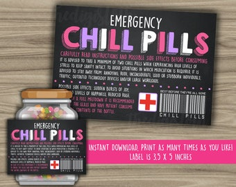 Chill Pills Printable Chalkboard Label - Funny Gift - INSTANT DOWNLOAD - Christmas Gift For Boss - CoWorker - Work Office Gag Gift - PL09