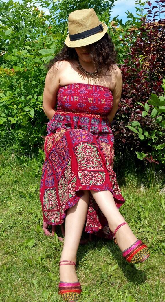 XS/S/M/L/XL Summer love /Mandala Block print Hippie Dress/Bohemian dress/Boho dress/Gypsy strapless summer dress/1970's style Beach dress