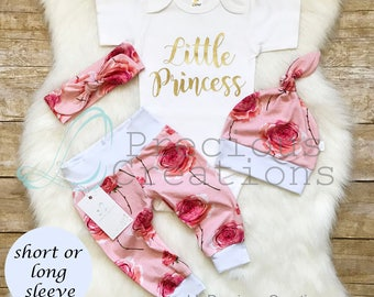 Newborn Girl Outfit Baby Girl Coming Home Outfit Little Princess Floral Outfit Peach Coral Roses Outfit Euro Print Baby Girl Clothes