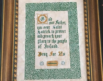 Irish Prayer in Caligraphy raised border