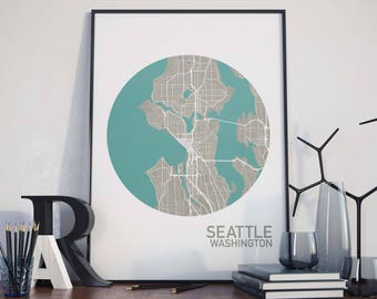 Seattle, Washington City Map Print