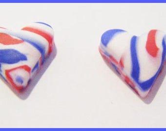 2 cabochon polymer clay hearts original candy treats