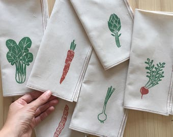"Set of 6 napkins ""from the garden"""