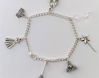 Cinderella Charm Bracelet, Cinderella Jewellery, Cinderella Bracelet, Princess Charm Bracelet, Silver Bracelet, Fairytale Bracelet, Princess