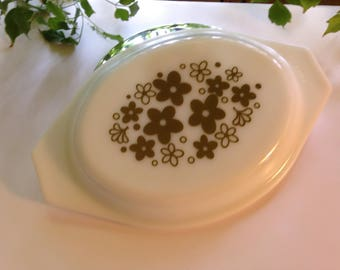 """Vintage Green """"Crazy Daisies"""" Pyrex Milk Glass Oval (Lid Only)"""