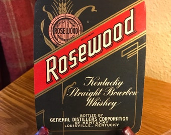 Vintage Rosewood Kentucky Straight Bourbon Whiskey Label - Louisville, Kentucky