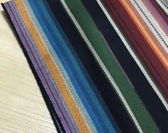 Cotton Linen woven Fabric | Striped woven Fabric | Ethnic Fabric | Boho Fabric