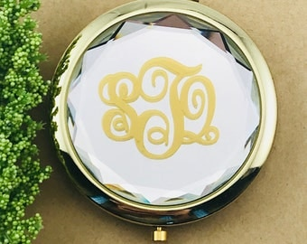 Compact Mirror - Monogrammed CRYSTAL clear