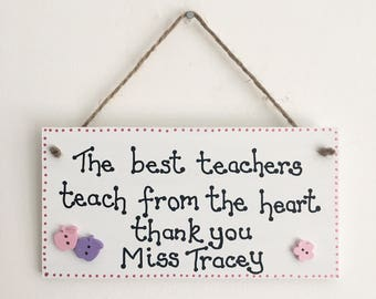Best Teacher handmade wooden gift plaque