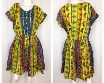 Vintage Love Bird Romper    Gauzy Cotton Playsuit    1980s/90s Romper Dress    XL