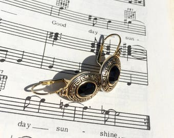 Vintage Black and Gold Ornate Earrings    Lever Back Earrings