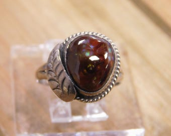 Sterling Silver Ring with Fire Agate Stone