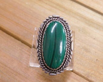 Malachite Sterling Silver Ring Size 9.5
