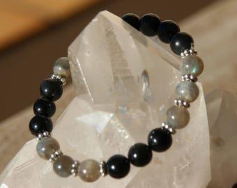 quartz, labradorite and Obsidian bracelet