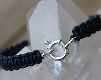 clasp buoy Silver 925 braided leather bracelet