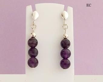 Silver and genuine Amethyst stone earrings
