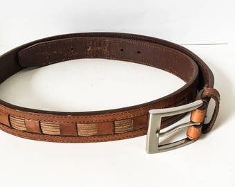 Brown leather belt - Woven Leather jean belt - Casual brown leather belt - Belt size 38 - Women's leather belt 36