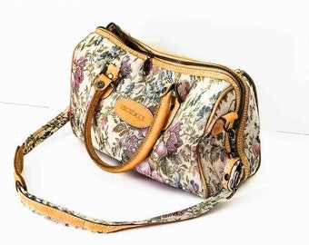 Tapestry carry on bag - Floral tapestry luggage - Tapestry luggage bag - Tapestry shoulder bag - Floral fabric doctor's bag - Weekender bag