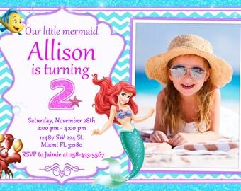 Little Mermaid Ariel Invitation Birthday Little Mermaid Ariel Party