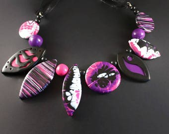 Pink beaded necklace Big large statement necklace Black and pink bead necklace Beaded statement necklace Big chunky necklace Polymer clay